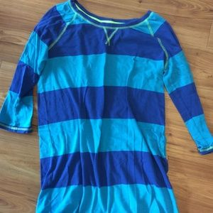 3/4 Sleeve Blue Striped Sleepshirt Pajamas